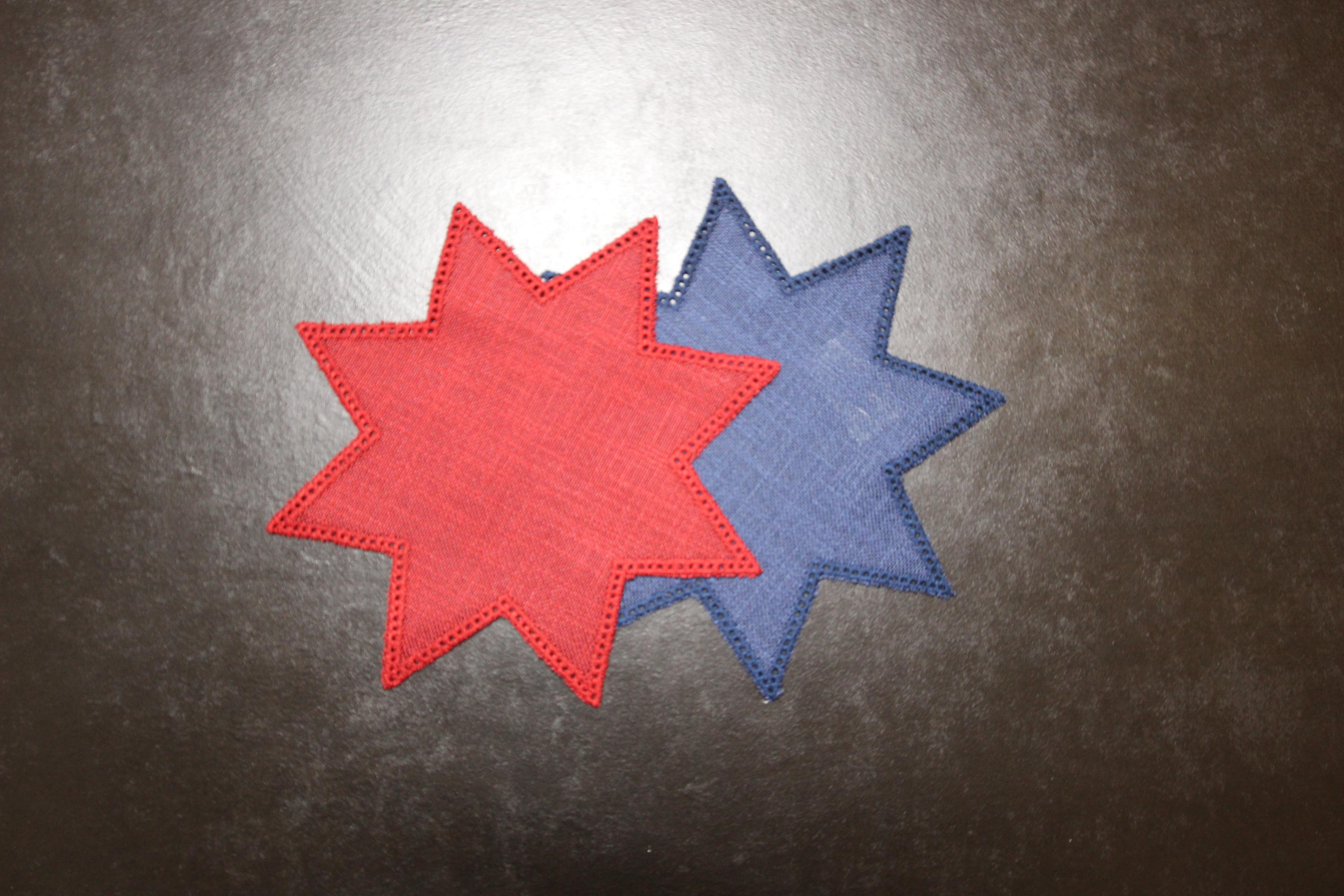 Restposten - Anhäkeldecke Stern klein - dunkelblau