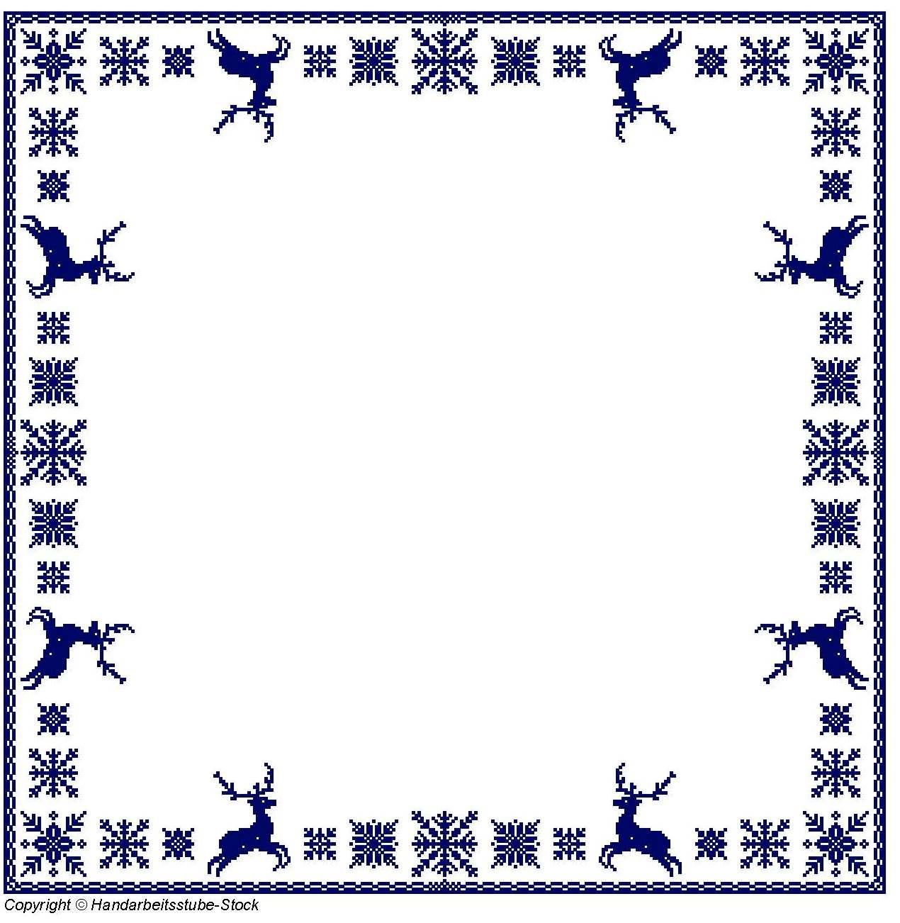 Tischdecken Bordüre - blau auf weiß